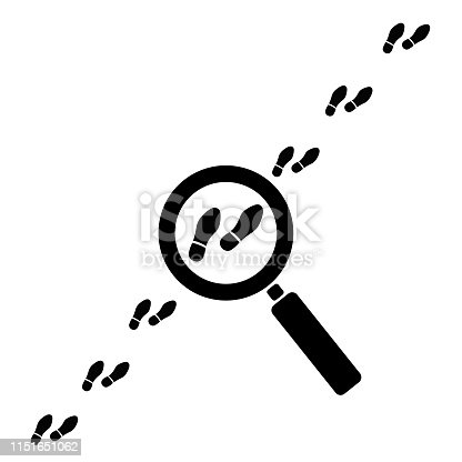 Footprint searching icon vector