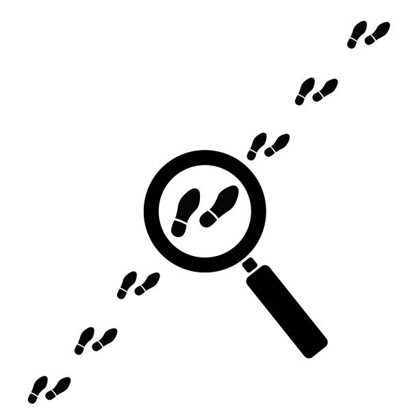 Footprint searching icon vector Footprint searching icon vector detective stock illustrations