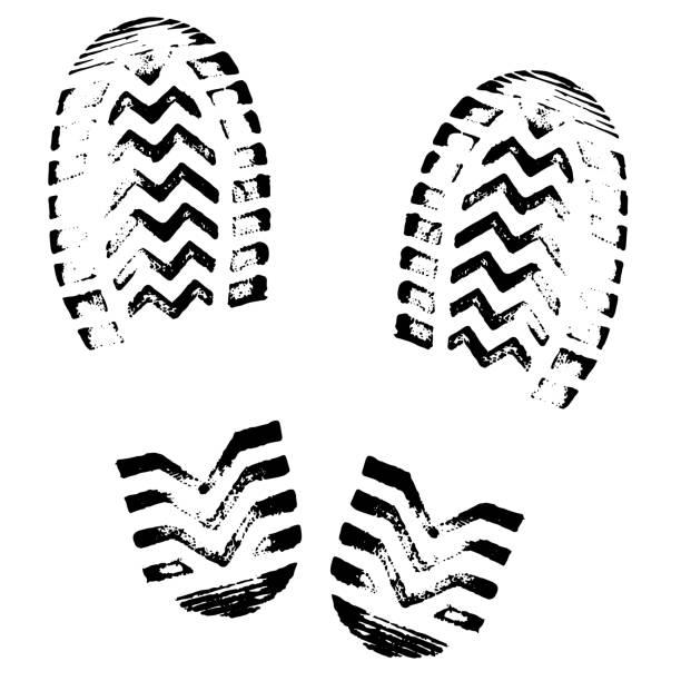 足跡, 剪影向量。鞋底列印。腳印花紋, 靴子, 運動鞋。印象圖示 - 版畫 幅插畫檔、美工圖案、卡通及圖標