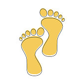 Footprint vector icon isolated on white background. Footprint icon. Yellow silhouette of footprint. Human footprint track.