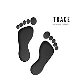 Footprint icon isolated on white background. Black silhouette of footprint. Human footprint track. vector illustration