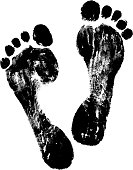 track of vector black footprint.