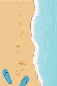 Footprints on the sand. Clipping mask so the sandals on the bottom are complete and easy to edit.