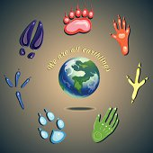 humans and animals footprints. we are all earthlings