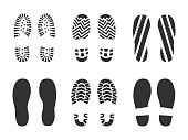 Footprints human shoes silhouette