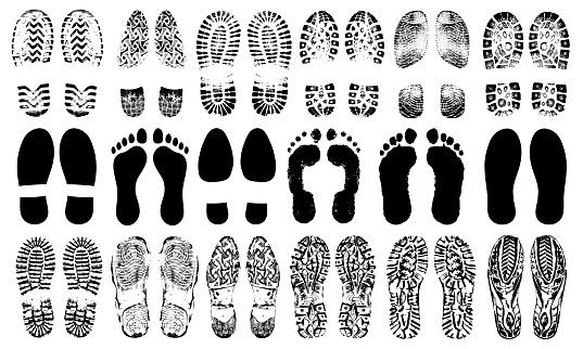 Spuren Menschlichen Schuhe Silhouette Vektorset Isoliert Auf Weißem Hintergrund Schuhsohlen Drucken Fußdruck Lauffläche Stiefel Sneakers Impressionsymbol Barfuß Stock Vektor Art und mehr Bilder von Alt