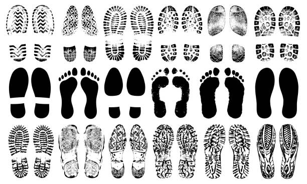 Footprints human shoes silhouette, vector set, isolated on white background. Shoe soles print. Foot print tread, boots, sneakers. Impression icon barefoot vector art illustration