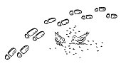 Hand-drawn vector drawing of Footprints In Snow and Birds Picking Grain. Black-and-White sketch on a transparent background (.eps-file). Included files are EPS (v10) and Hi-Res JPG.