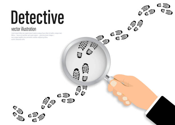 Footprints investigating. Hand holding magnifying glass above footprint flat illustration. Detective is investigating Footprints investigating. Hand holding magnifying glass above footprint flat illustration. Detective is investigating detective stock illustrations