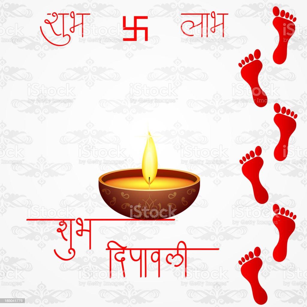 Footprints of Goddess Lakshami on Diwali royalty-free stock vector art