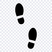 footprints of men's shoes as a template for design, male footprint vector