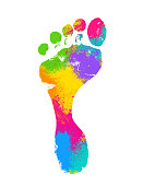 Footprint shape made with colored powder texture