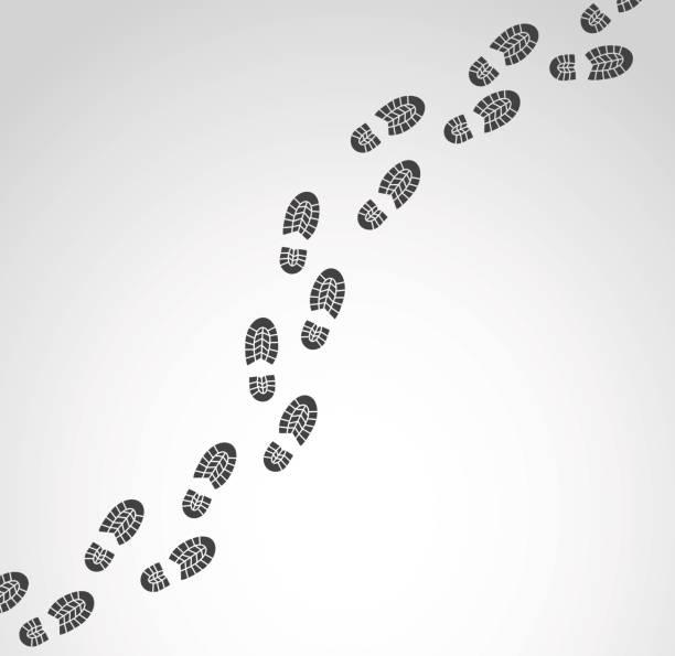 footprints vector illustration. - оттиск stock illustrations