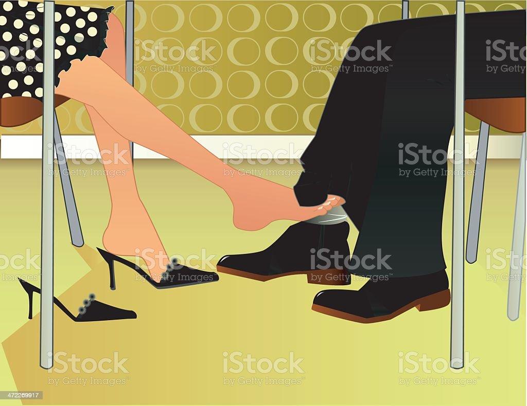 Footsie Flirt vector art illustration