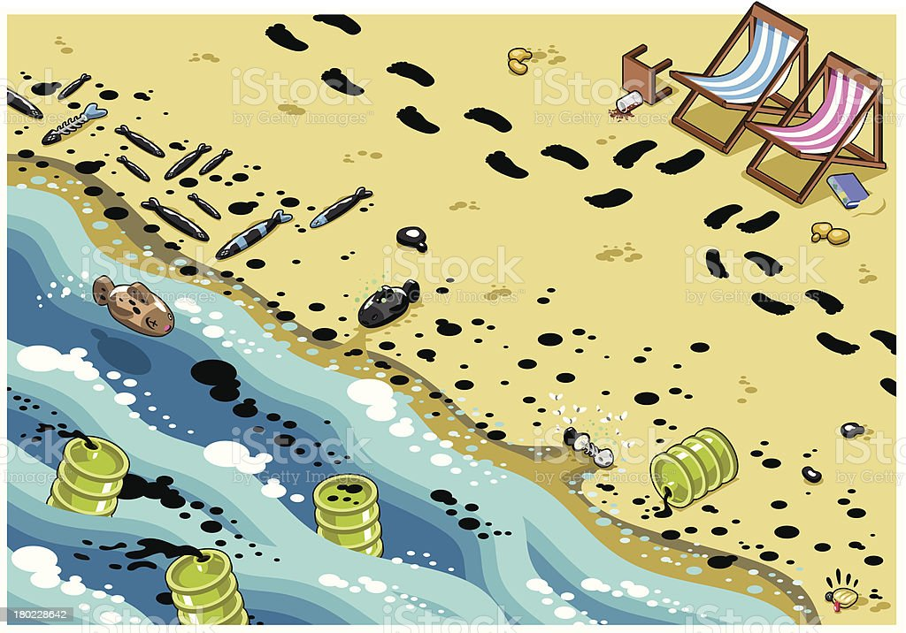 Footsteps on oil stained polluted beach - vector vector art illustration