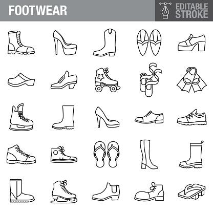 Footwear Editable Stroke Icon Set