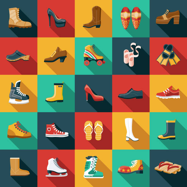footwear flat design icon set - wysokie obcasy stock illustrations