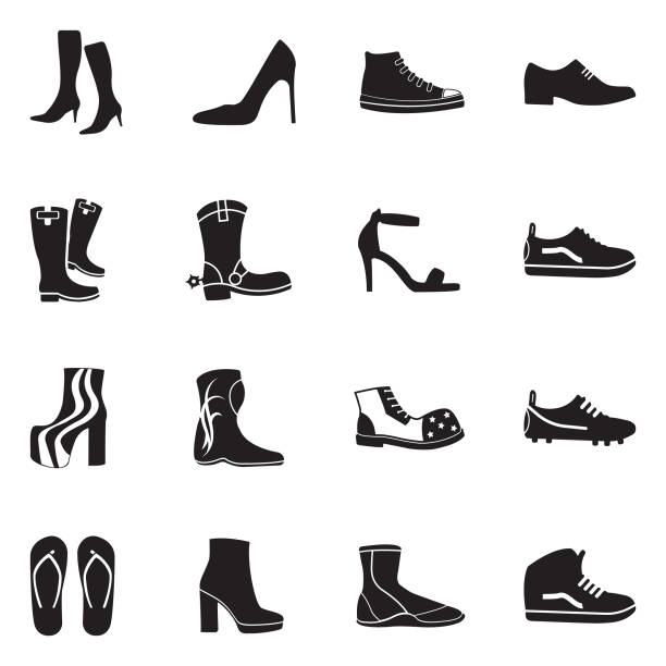 Footwear Icons. Black Flat Design. Vector Illustration. Shoe, Stiletto, Boot shoe stock illustrations