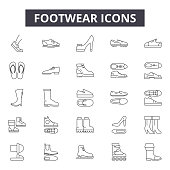 Footwear line icons for web and mobile. Editable stroke signs. Footwear  outline concept illustrations