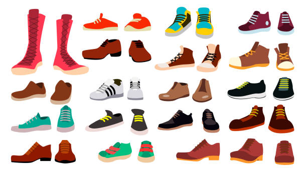 Footwear Set Vector. Fashionable Shoes. Boots. For Man And Woman. Web Icon. Flat Cartoon Isolated Illustration Footwear Set Vector. Stylish Shoes. For Man And Woman. Sandals. Different Seasons. Design Element. Flat Cartoon Isolated Illustration shoe stock illustrations