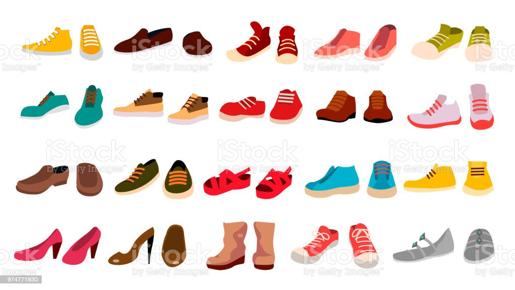Footwear Set Vector. Stylish Shoes. For Man And Woman. Sandals. Different Seasons. Design Element. Flat Cartoon Isolated Illustration - arte vettoriale royalty-free di Abbigliamento