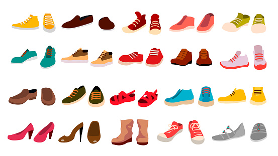Footwear Set Vector Stylish Shoes For Man And Woman Sandals Different Seasons Design Element Flat Cartoon Isolated Illustration - Immagini vettoriali stock e altre immagini di Abbigliamento
