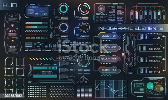 HUD UI for Business App. Futuristic User Interface HUD and Infographic Elements - Illustration Vector