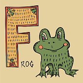 F for frog, folk russian lubok style capital letter and bloomer
