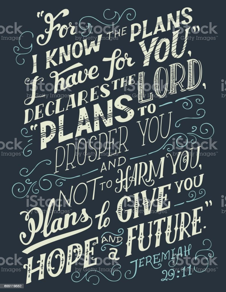 For I know the plans I have for you bible quote vector art illustration