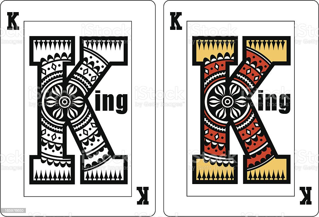 K For King Playing Card royalty-free stock vector art