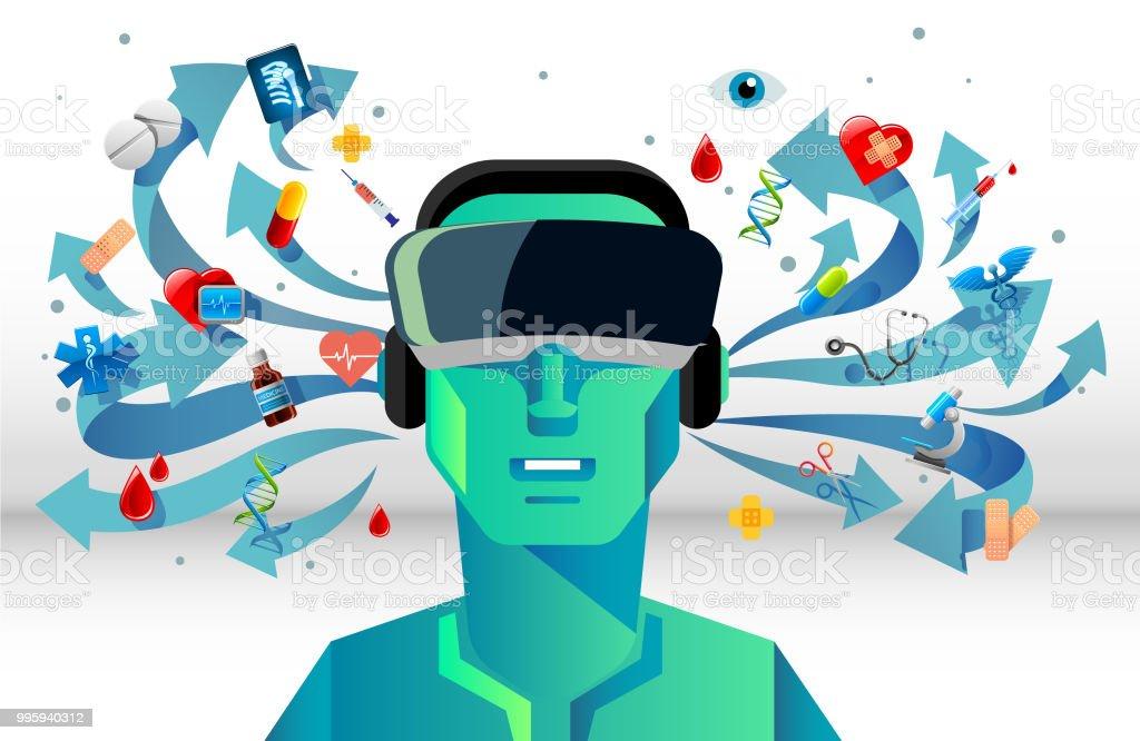 VR for medical vector art illustration