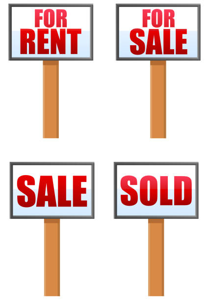 For rent and sale business sign posts vector vector art illustration