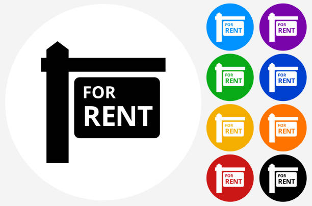 for rent sign icon on flat color circle buttons - vermietung stock-grafiken, -clipart, -cartoons und -symbole