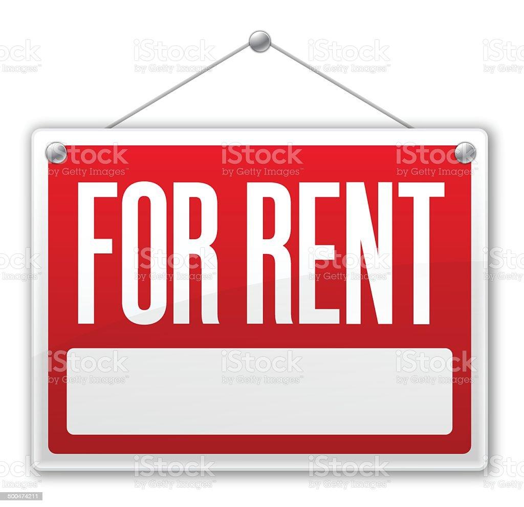 For Rent Sign vector art illustration