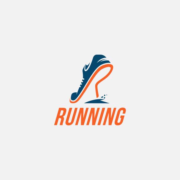 stockillustraties, clipart, cartoons en iconen met r voor run logo pictogram / running logo - running