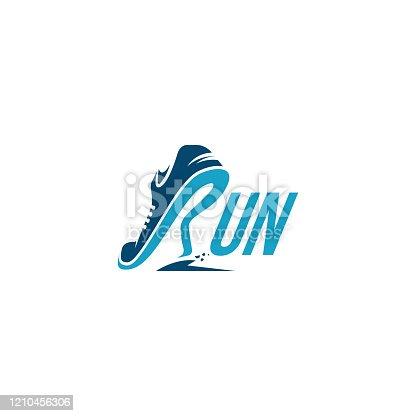 istock R for Run / Running logo vector 1210456306