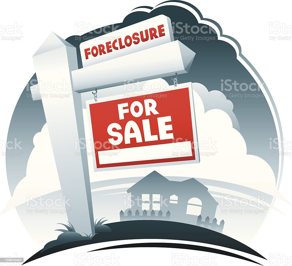 For Sale and Foreclosure Sign royalty-free stock vector art