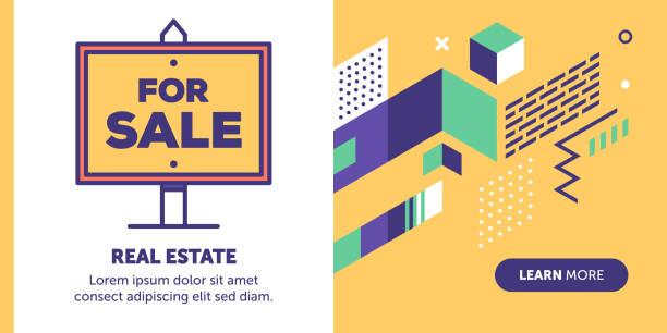 illustrations, cliparts, dessins animés et icônes de bannière de vente - nouveau foyer
