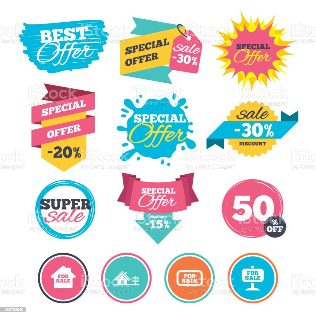 For sale icons. Real estate selling. royalty-free for sale icons real estate selling stock vector art & more images of advertisement