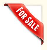 For Sale Red Shopping Banner royalty free-vector art corner ribbon