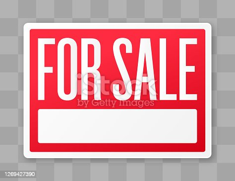 For sale red selling merchandise or property notification sale sign.
