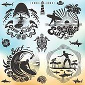 Surfer holiday illustration set, surf elements