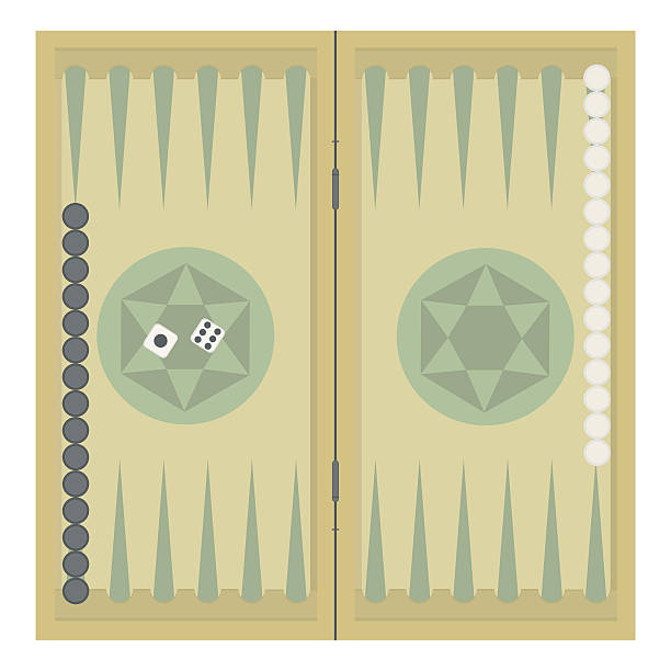 For the Internet Backgammon on the wooden box, two dice and chips. Vector illustration. backgammon stock illustrations