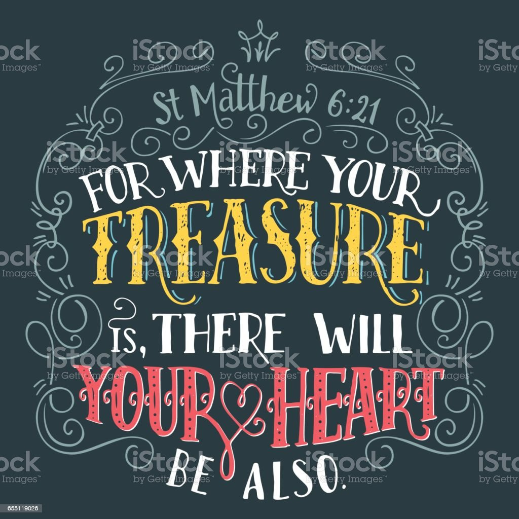 For where your treasure is bible quote vector art illustration