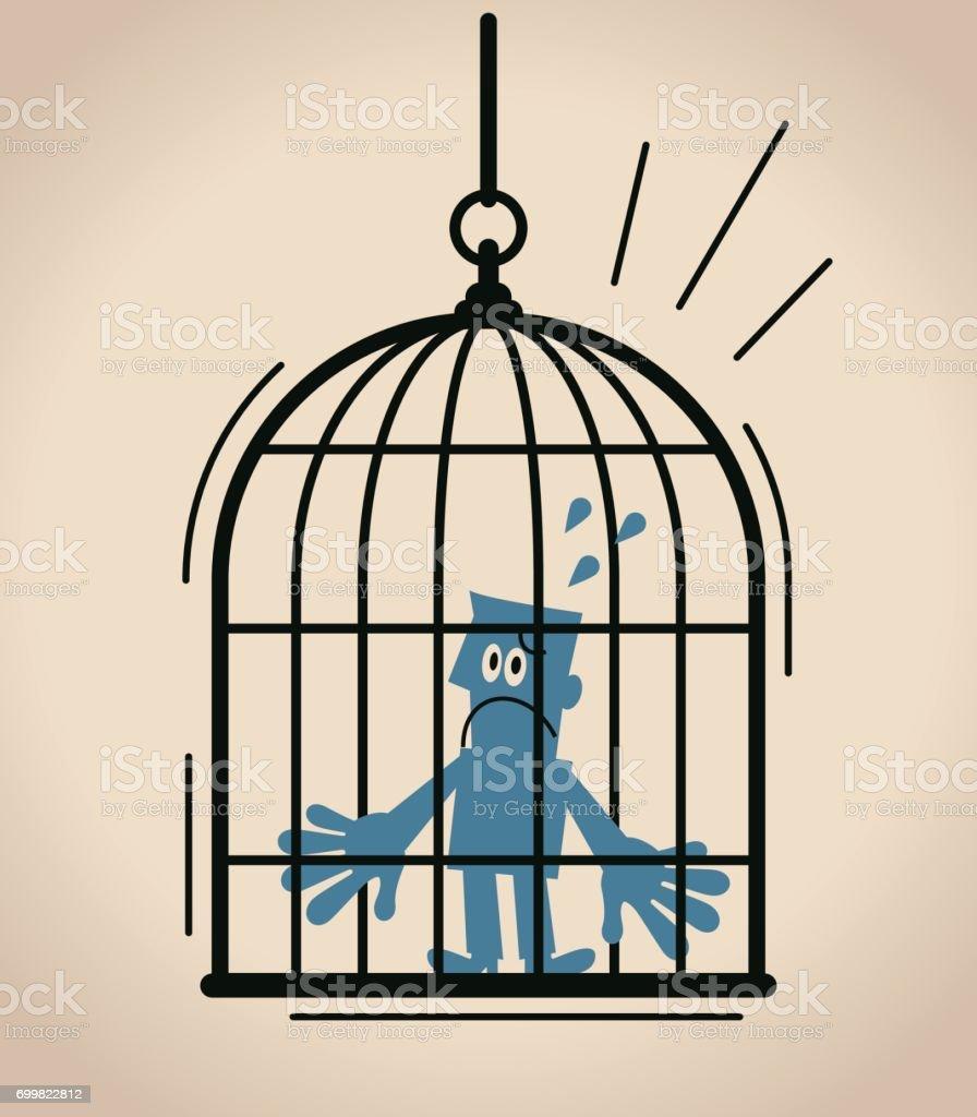 Forbidden and freedom, displeased businessman standing inside of large birdcage vector art illustration