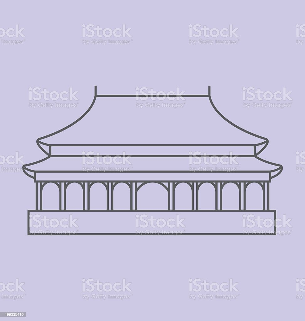 Forbidden City colored line Illustration vector art illustration