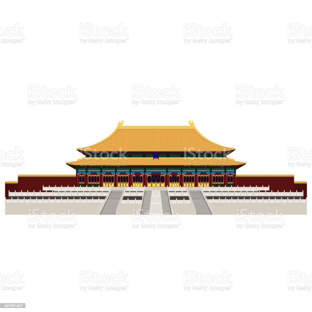 Forbidden City. Gate of Heavenly Peace. Tiananmen Square. Beijing. Trendy vector art illustration