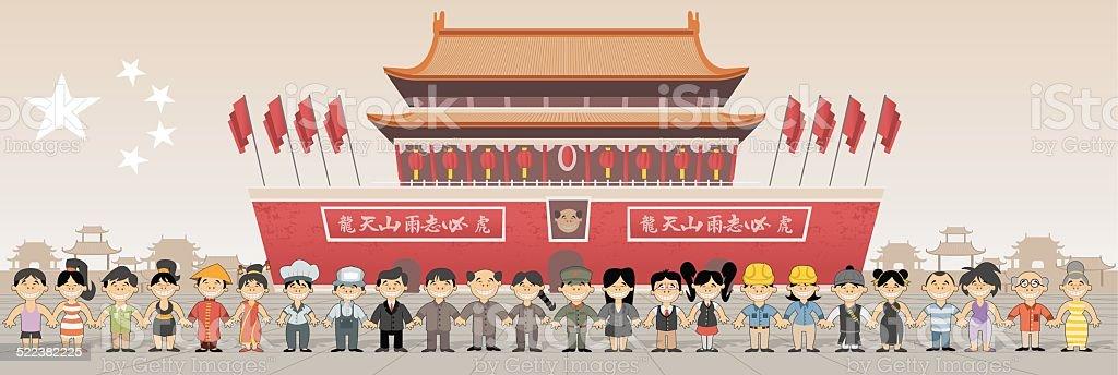 Forbidden city in Beijing , China vector art illustration