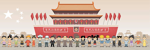Forbidden city in Beijing , China Group of chinese happy cartoon people in front of Forbidden city in Beijing , China mao tse tung stock illustrations