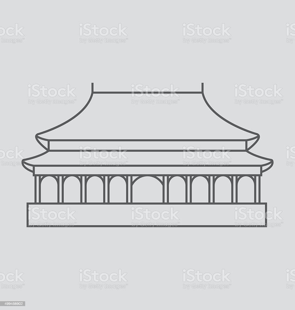 Forbidden City line Illustration vector art illustration